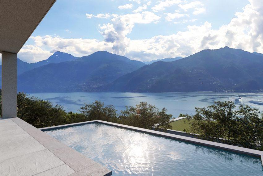 Lake Como Menaggio modern villa under construction with pool, garden and amazing lake view. (4)